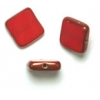 Fire polished 8X8mm Square Red Opaque Lamp/window Beads